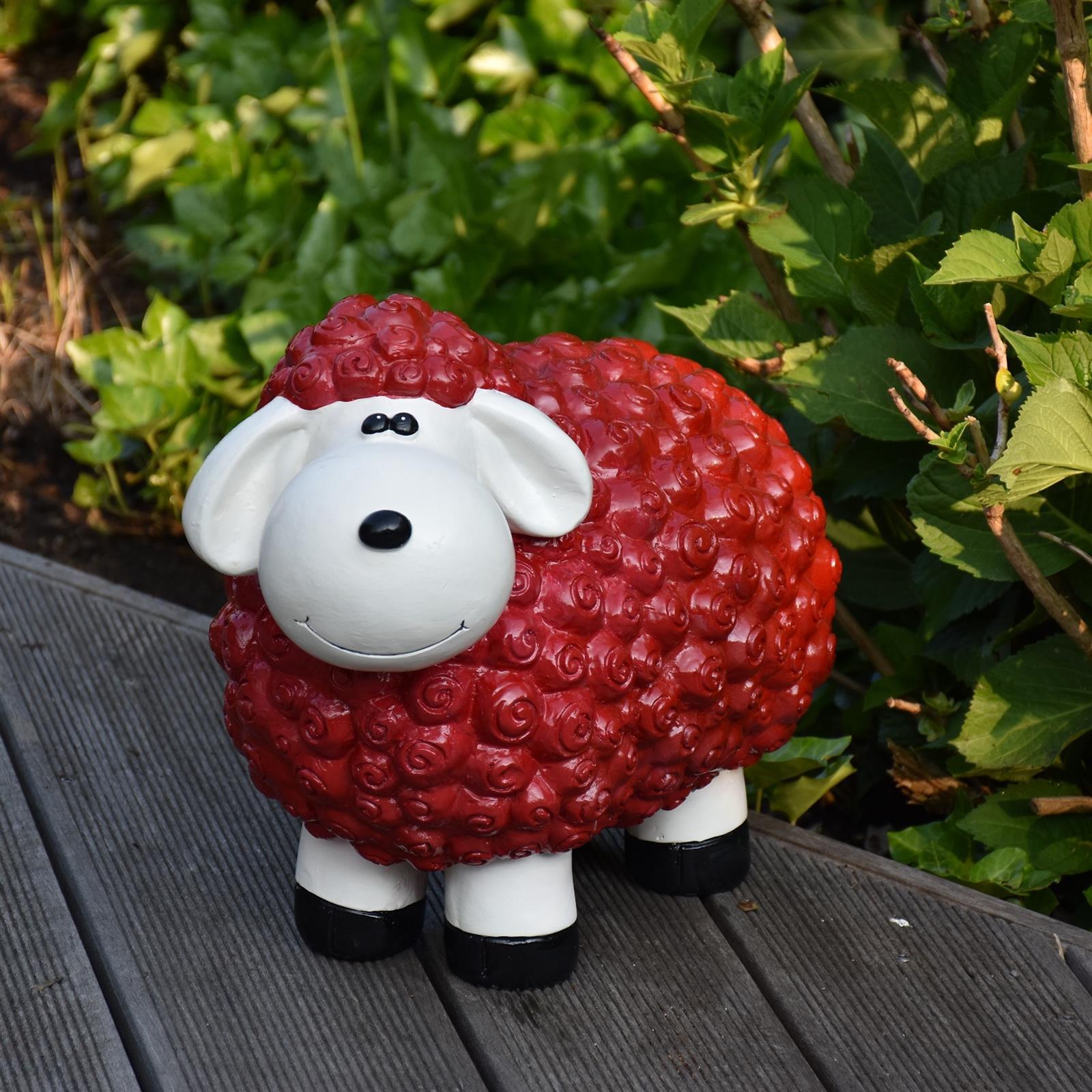 Gartenfigur Schaf in Rot