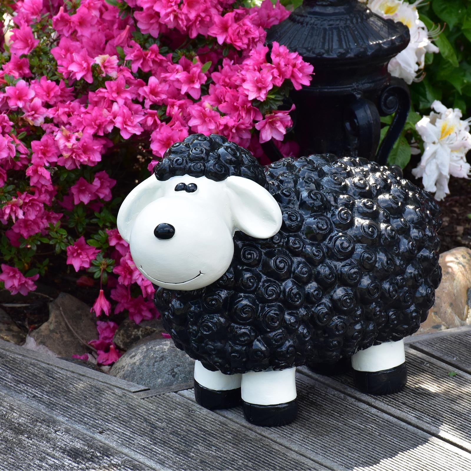 Gartenfigur Schaf in Schwarz