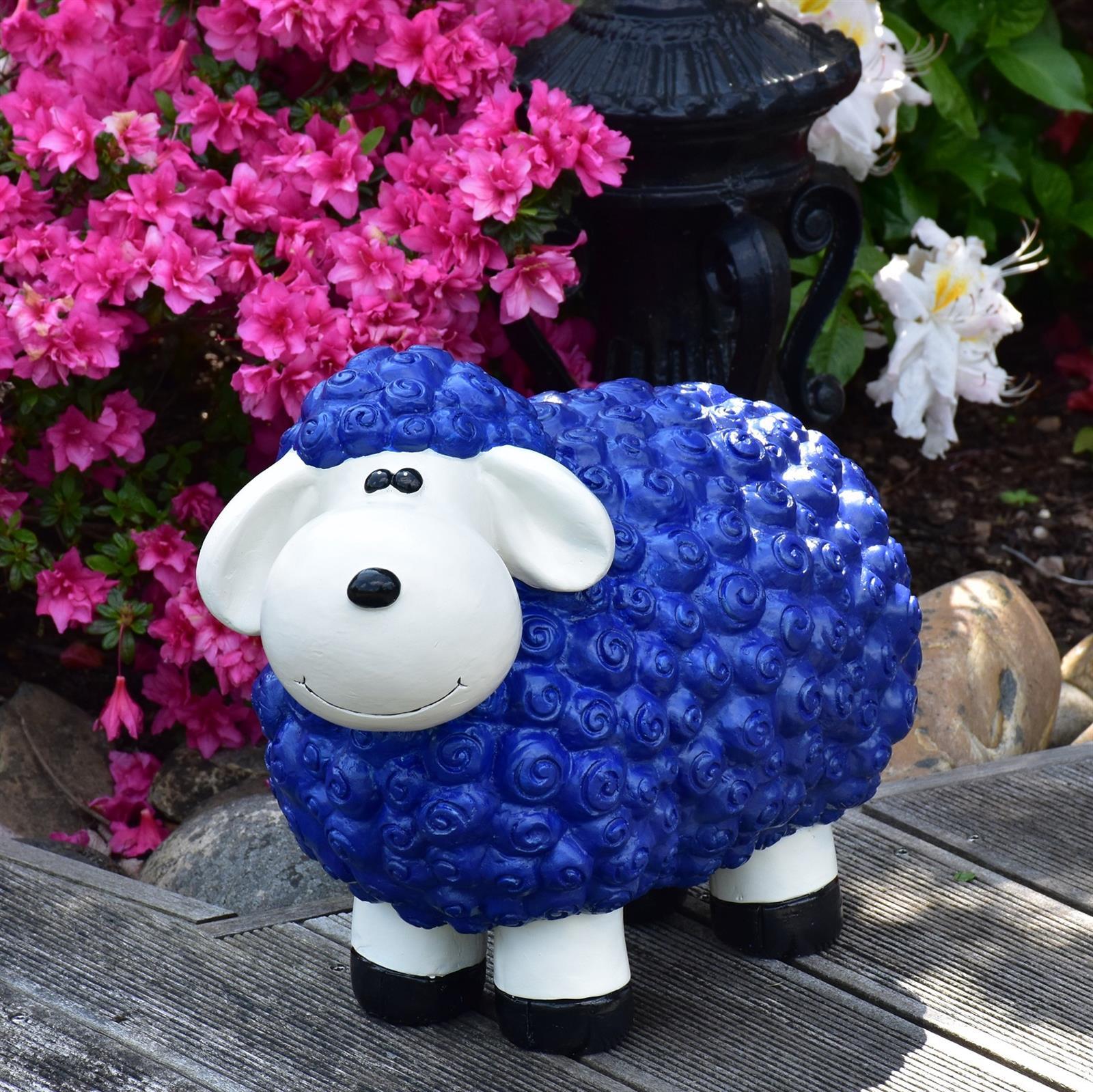 Gartenfigur Schaf in Blau