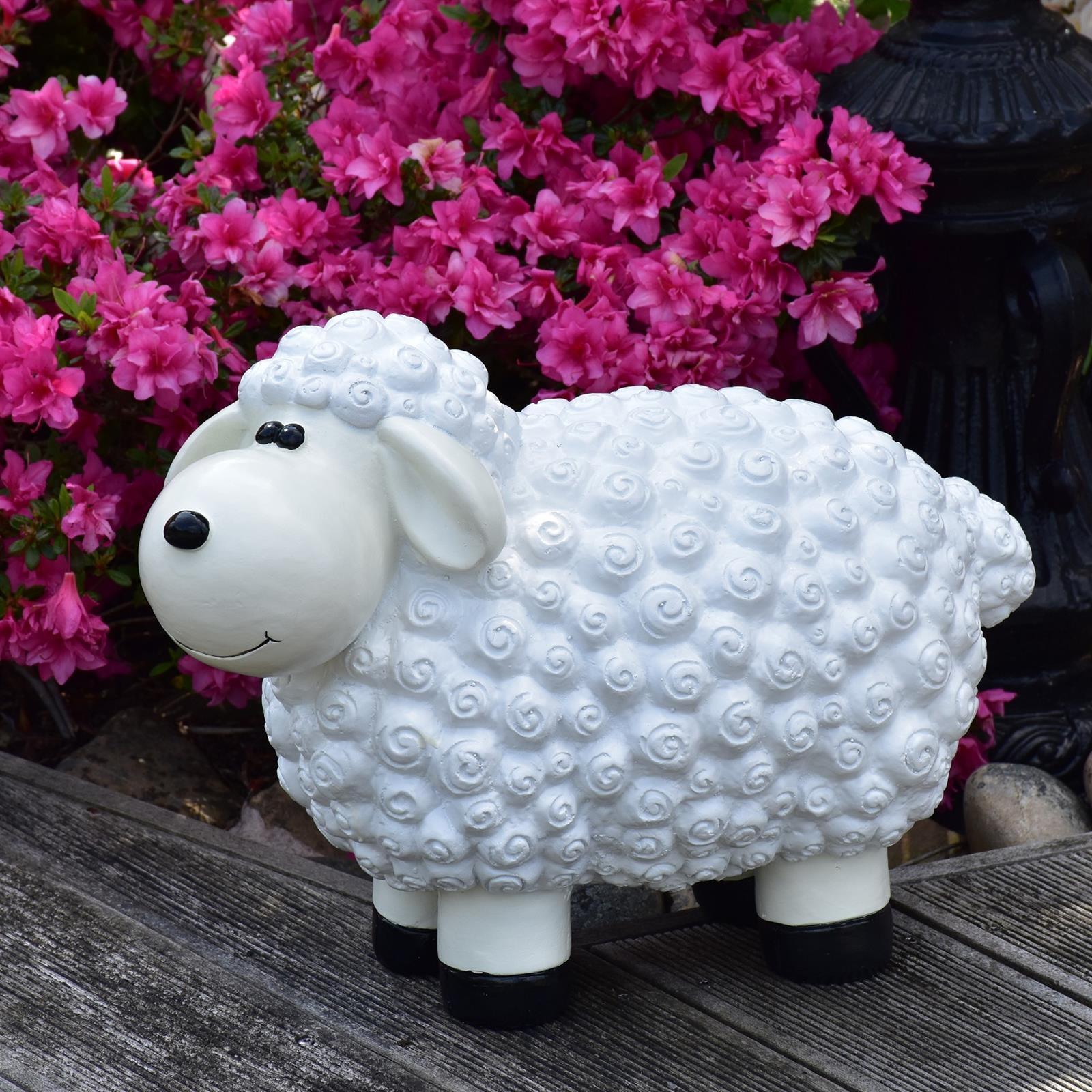 Gartenfigur Schaf in Weiß