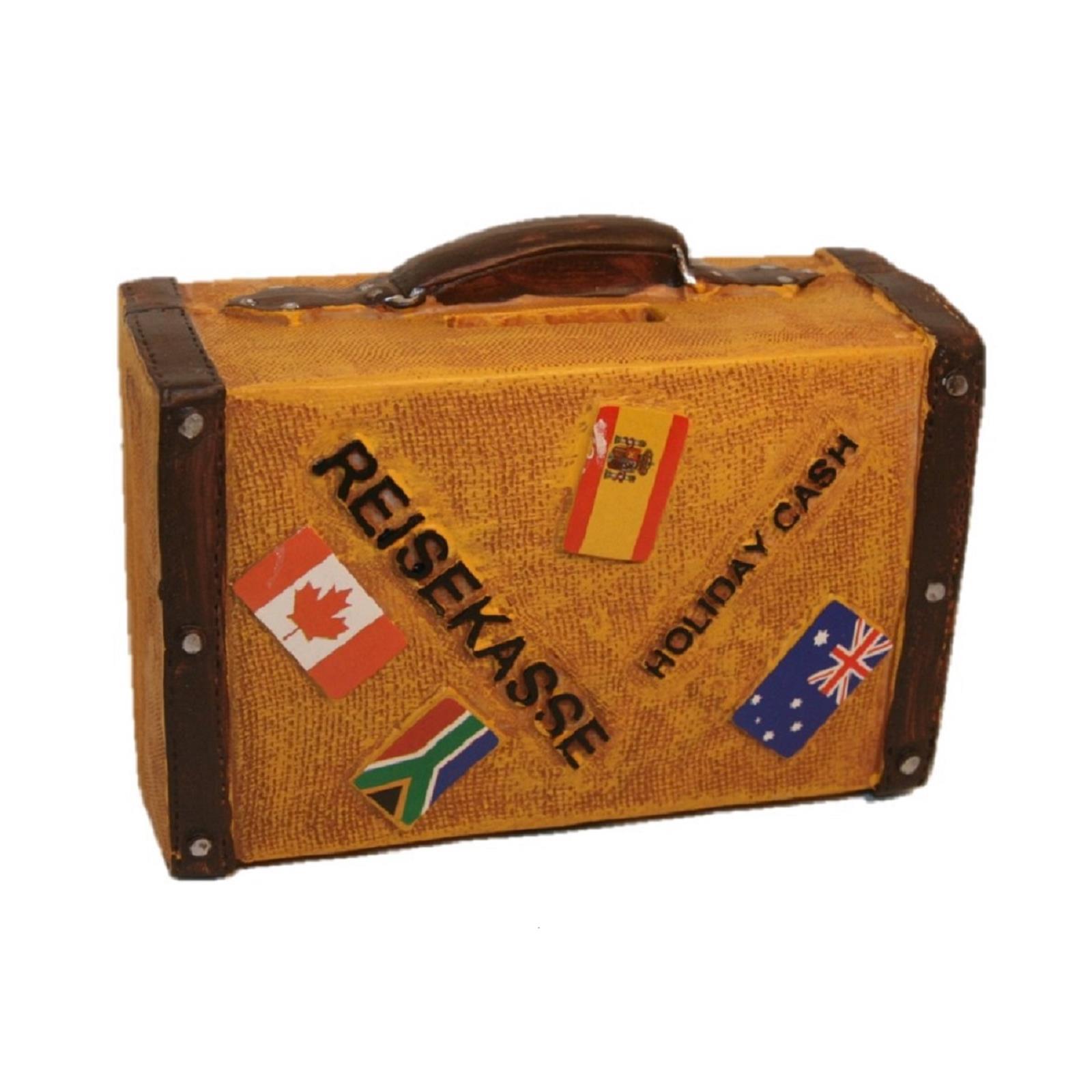 Spardose Reisekoffer in Rot