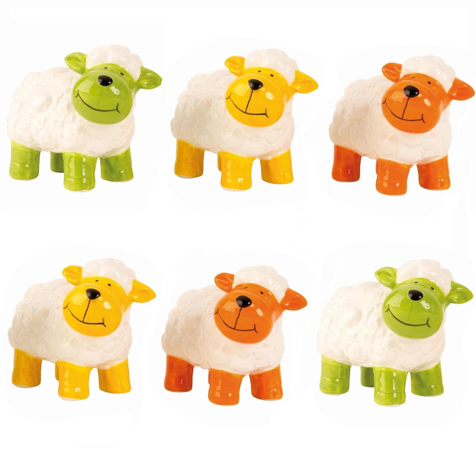 6 Gartenfiguren bunte Schafe