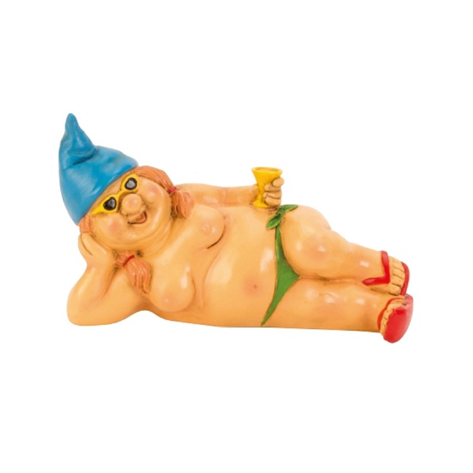 Nackte Zwergin mit blauer Mütze