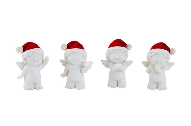 4 Stück Engel Figuren rote Nikolausmütze Engelfigur Weiss Dekofigur Weihnachten