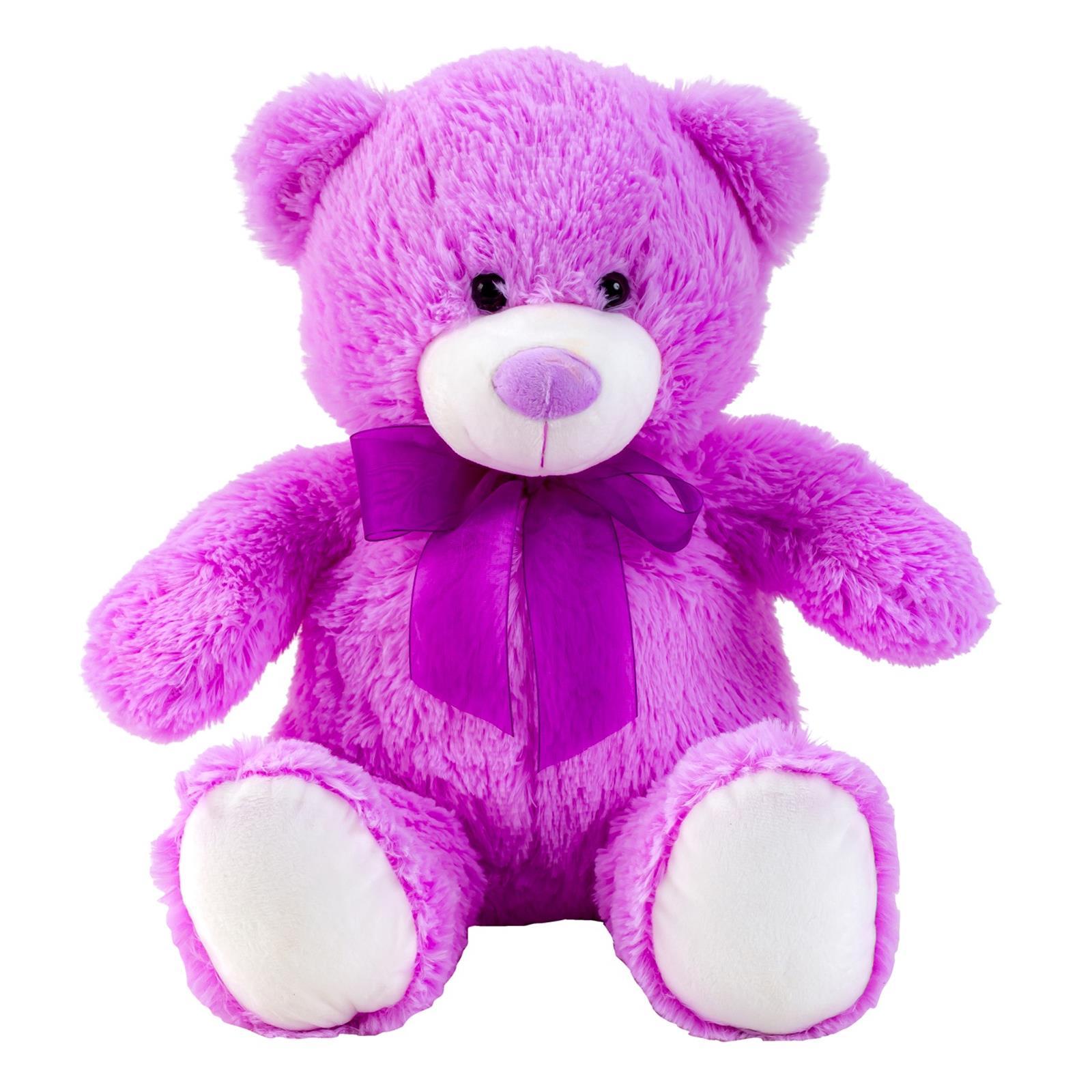 Teddybär Lila mit Schleife