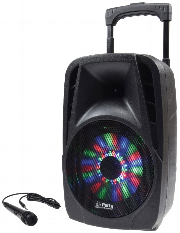 Mobile Beschallungsanlage Port 08 LED 300W USB Bluetooth 2x Mikrofon Akku PARTY