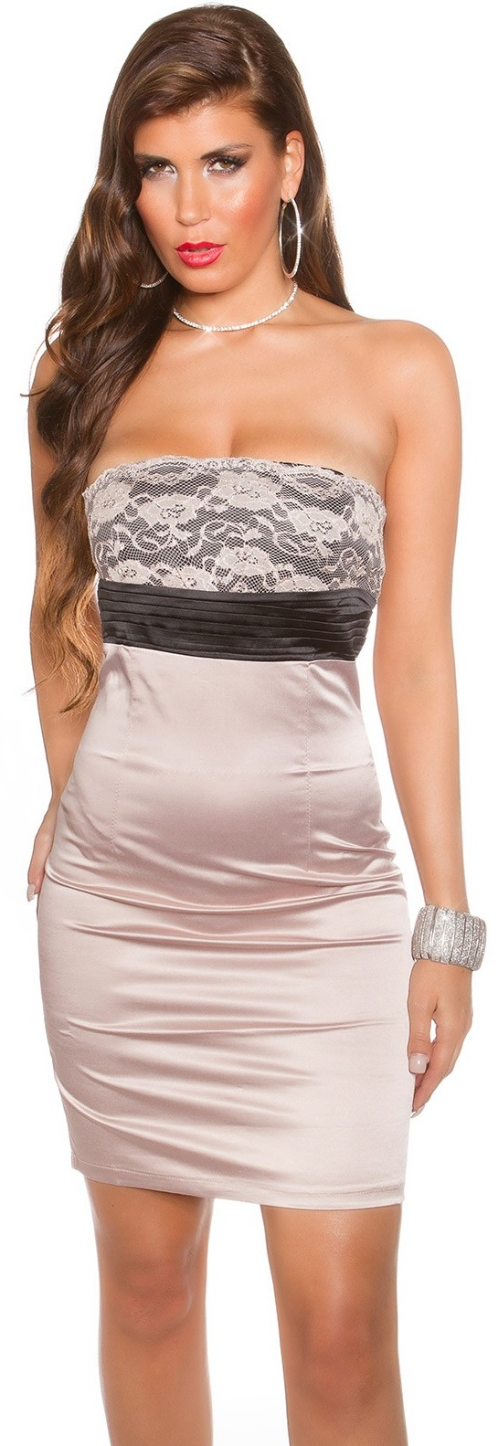 Edel Und Luxurios Bandeau Cocktailkleid Mit Spitze Gr S Xl Minikleid Kleid Ebay