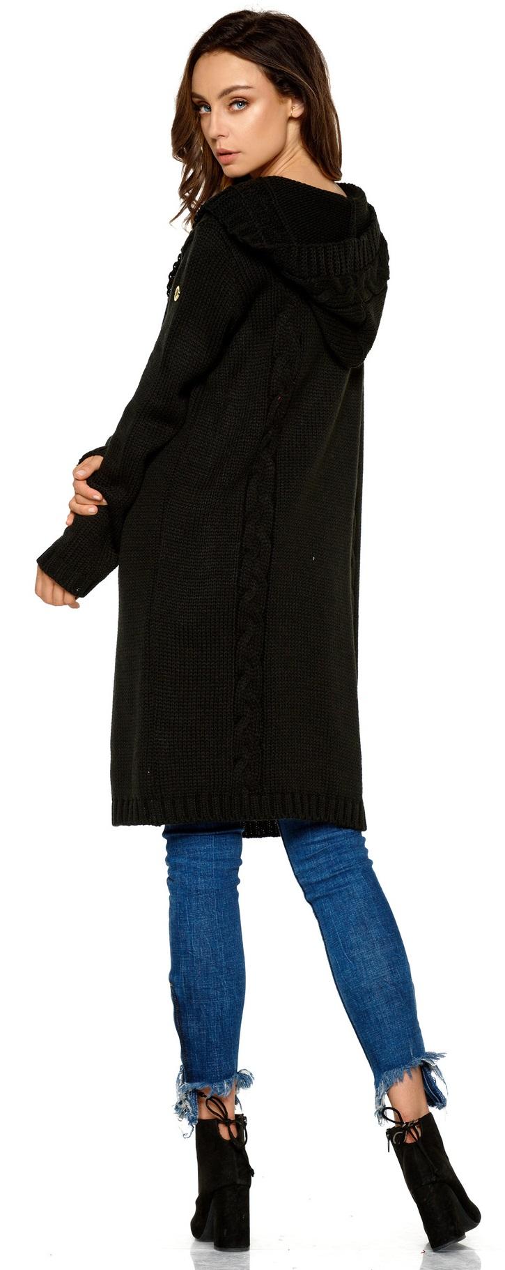 modischer Cardigan mit Kapuze Knielang hochwertiger Strickjacke Damen Jacke