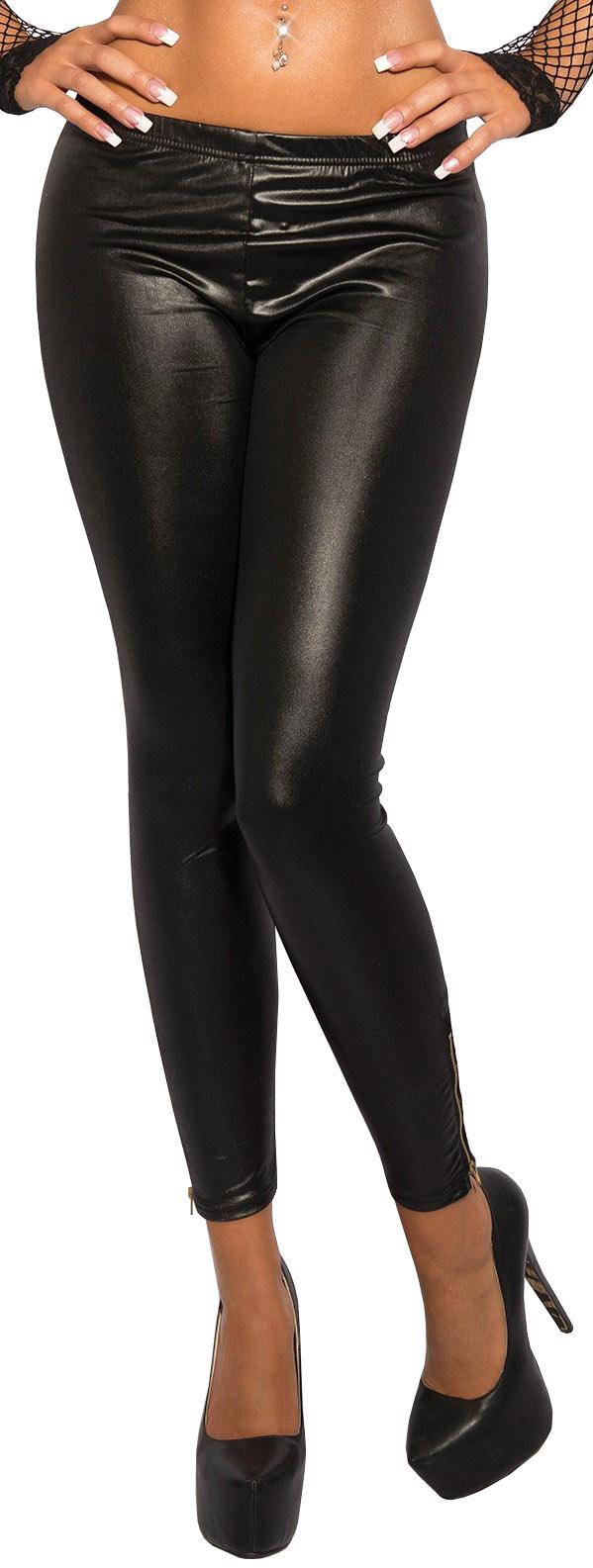 Leggins Clubwear mesh Hose Damen Wetlook-Leggings mit Netzeinsätzen S-L