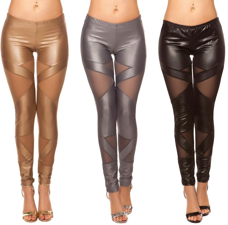 Wetlook-Leggings mit Netzeinsätzen S-L Leggins Clubwear mesh Hose Damen