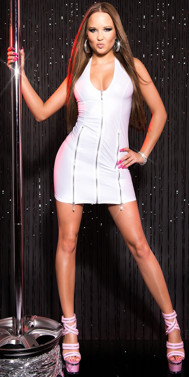 ärmellos Clubwear Wetlook Party Neck-Gogokleid mit Reißverschlüssen 34 36 38