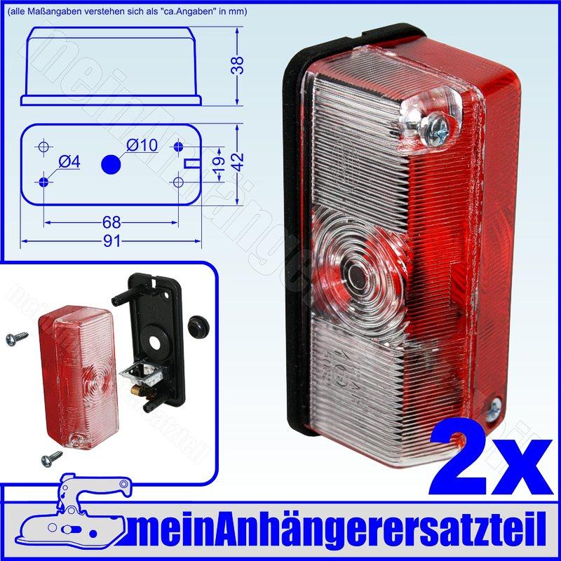 2 Begrenzungsleuchten Positionslampe 90° am Gummiarm PKW Anhänger E geprüft