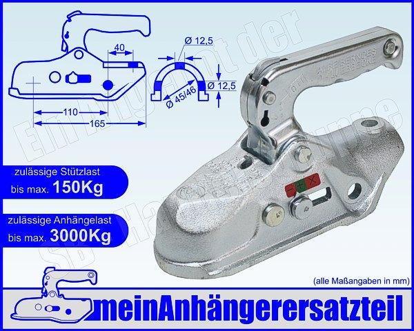 ALBE Berndes Zugkugelkupplung Kugelkupplung Vierkant Rohr 45mm EM 80 V K 05245