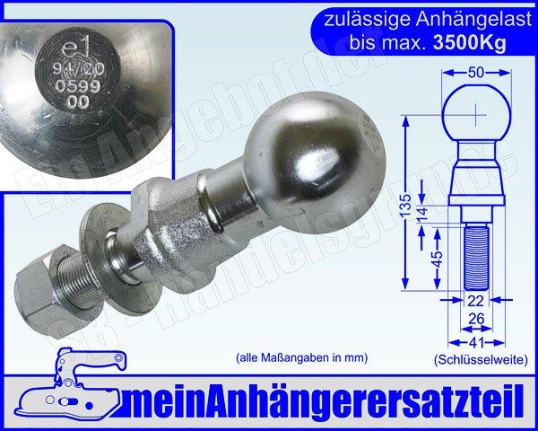 Westfalia Anschraubplatte Kugelplatte Kugelkopf D=23,5kn S=150kg 2500kg