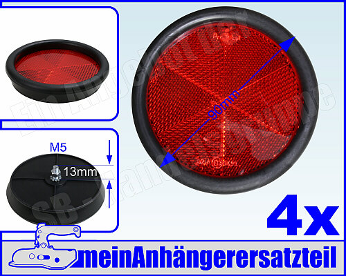 Rückstrahler rund 90 mm rot mit schlagfester Kunststoffbodenplatte