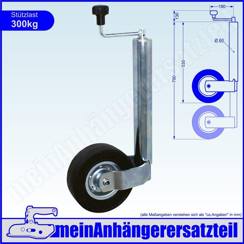 Anhänger Stützrad 60 mm für Wohnwagen Bugrad Trailer Stützlast KFZ PKW 400 kg