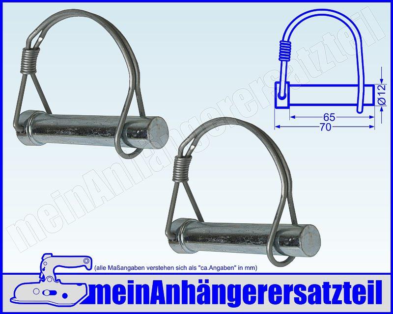 2x Federbügelbolzen Bolzen für Bordwandscharnier Heckklappe 12 x 70 mm 12x70mm