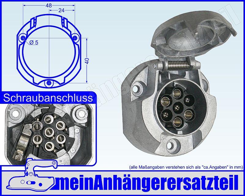 Metall Steckdose 7pol. 7 polig aus Aluminium für Anhängerkupplung ...