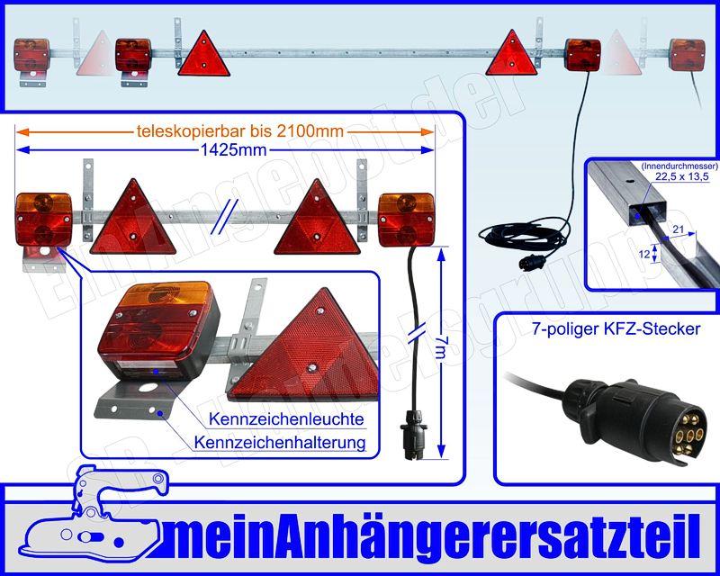 Beleuchtungsträger Anhänger Beleuchtung Lichtleiste ausziehbar 1,4 ...