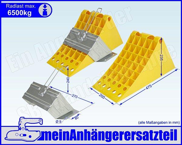 Halter schwarz bis 1600kg Hemmschuhe /& Halterung 2x Stück Unterlegkeile