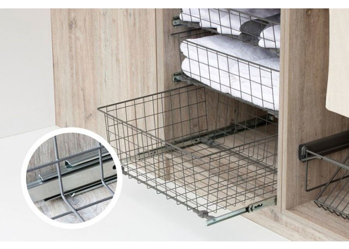schrankauszug kugelf hrung teleskopschublade ausziehkorb korbauszug h he 12cm ebay. Black Bedroom Furniture Sets. Home Design Ideas