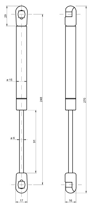 Klappenhalter Öldämpfer für alle Klappen die nach unten geöffnet werden 60-150N