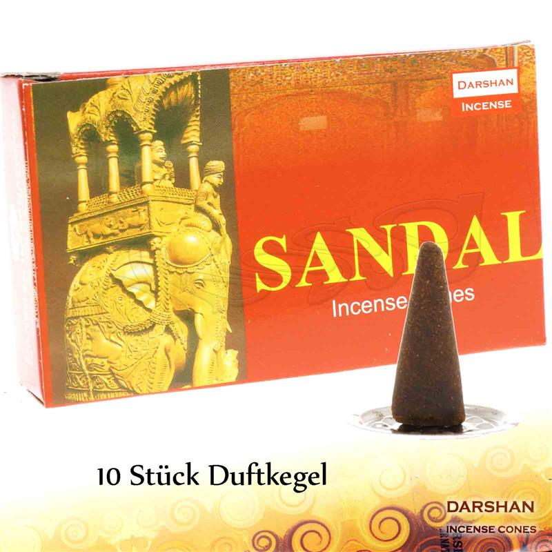 SANDAL von Darshan 1x 10 Räucher-KEGEL Räucherkegel Räucherkerzen Incense Cones