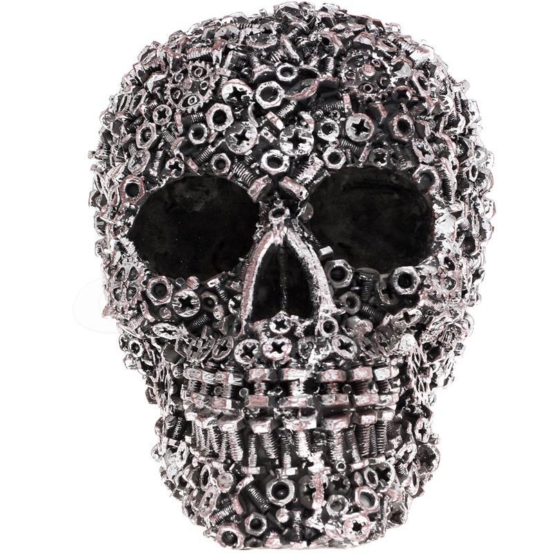 Industriedesign Totenkopf silberfarbend Deko Schrauber Skull Schrauben Schädel