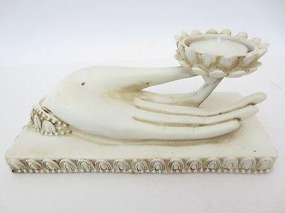 buddhas hand elfenbeinfarbend r ucherst bchenhalter mit teelicht lotusbl te ebay. Black Bedroom Furniture Sets. Home Design Ideas