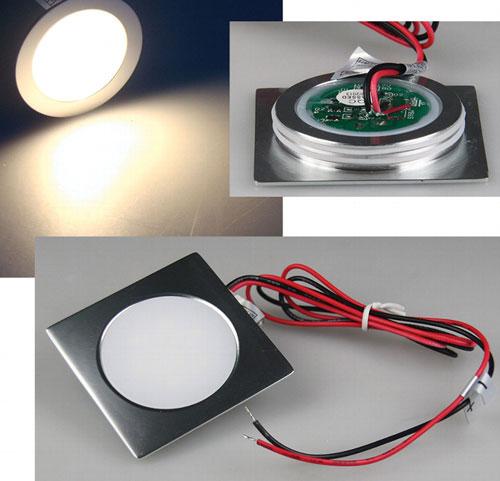 "9 LEDs LED Einbauleuchte /""EBL Slim WW/"" IP67 Ø55mm warmweiß Alu matt"