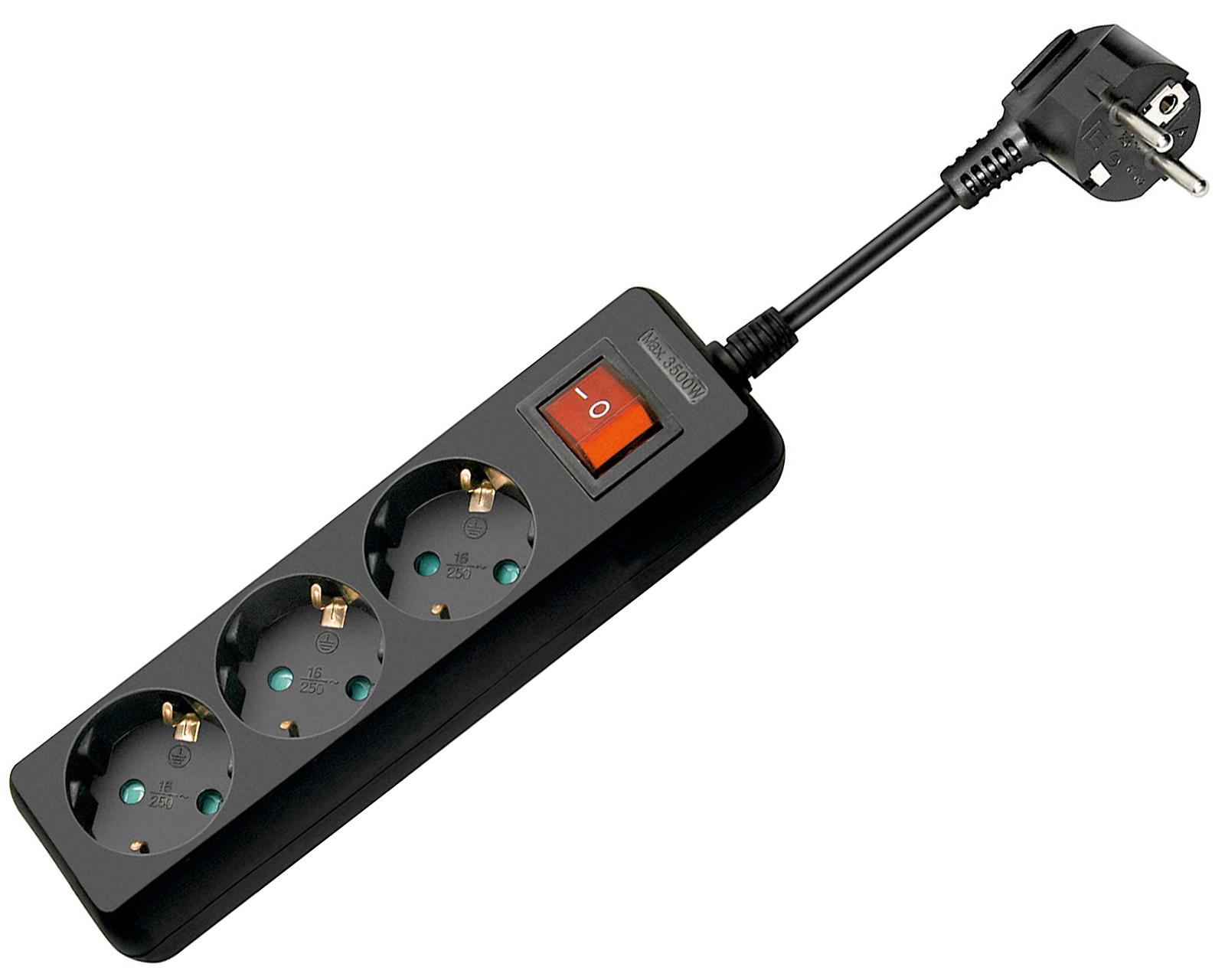 goobay steckdosenleiste schwarz 3 fach mehrfachsteckdose schalter 1 5m kabel ebay. Black Bedroom Furniture Sets. Home Design Ideas