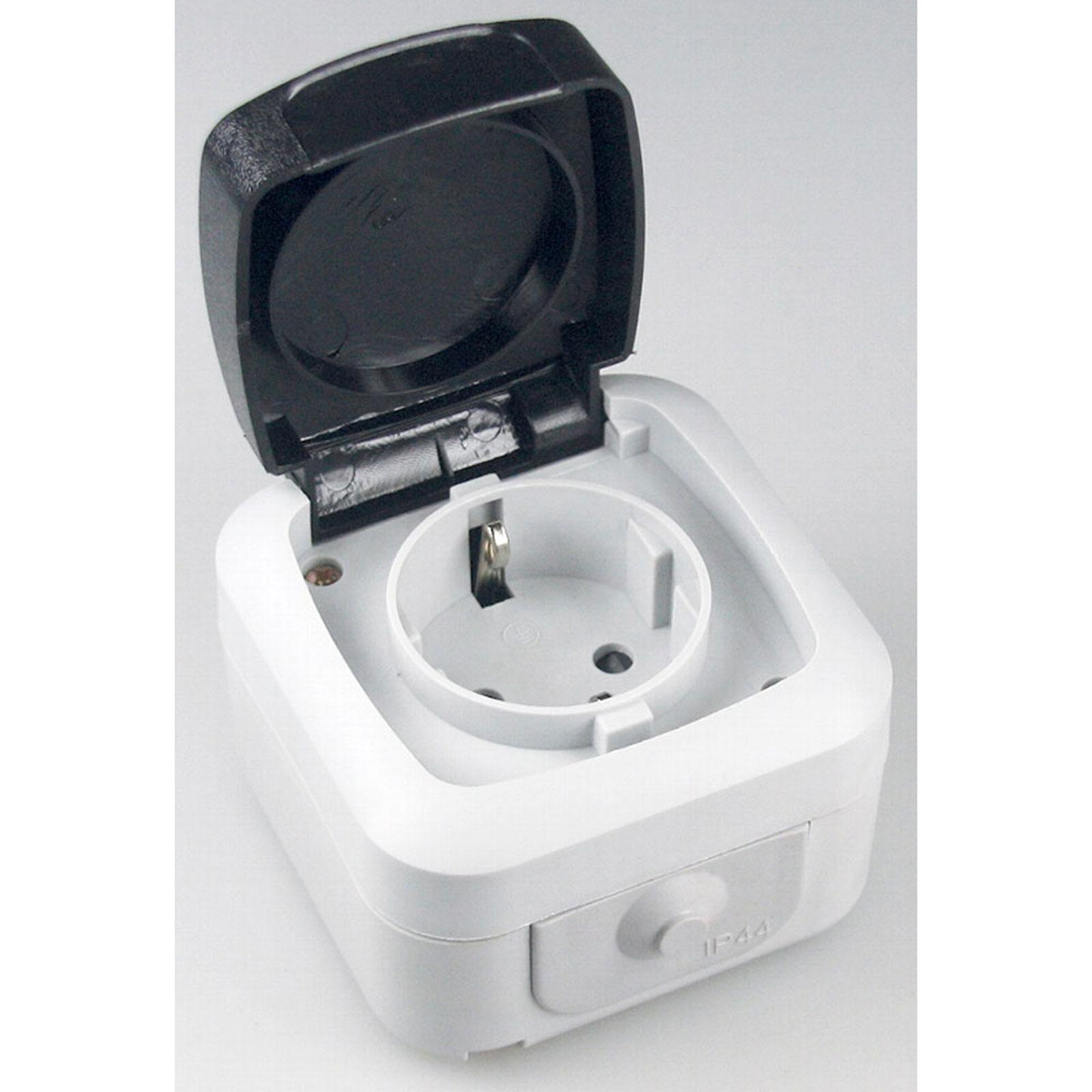 aufputz feuchtraum steckdose 1 2er ip44 16a 250v taster kontroll schalter licht ebay. Black Bedroom Furniture Sets. Home Design Ideas