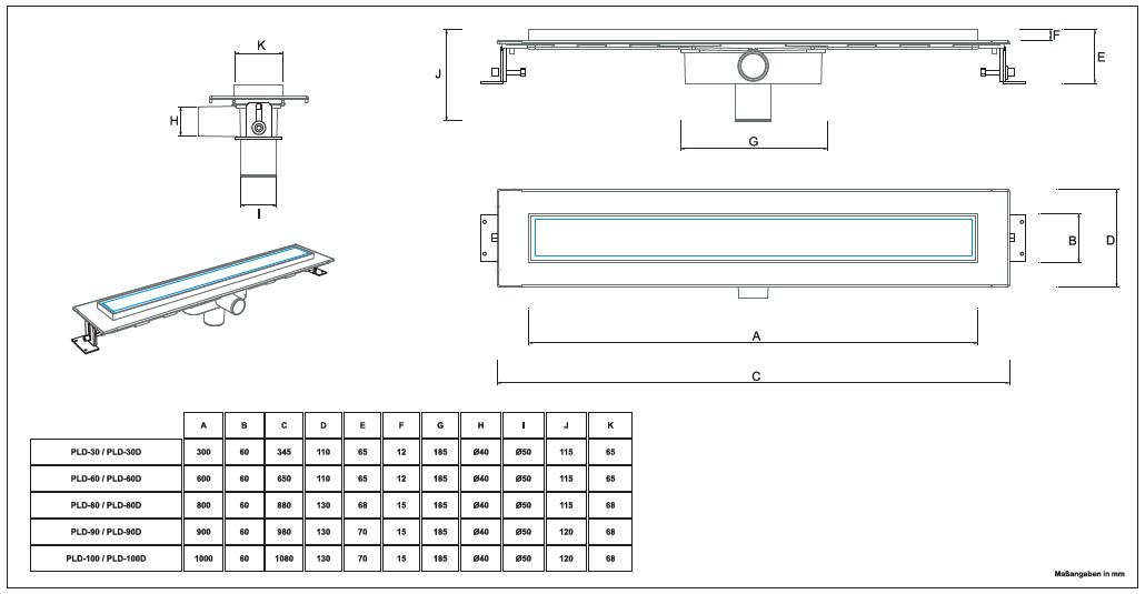 bodenablauf duschablauf duschrinne mit design edelstahlrost square 300 1000 ebay. Black Bedroom Furniture Sets. Home Design Ideas