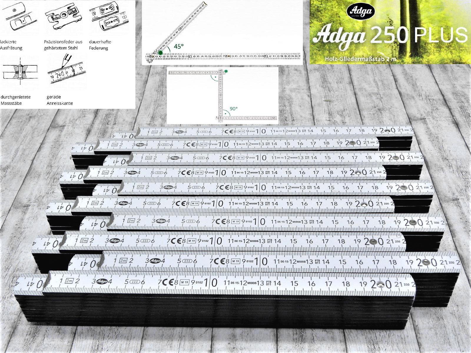 5x 10x 15x 20x Hultafors Profi Meterstab weiss 2m Buchenholz Meterstäbe