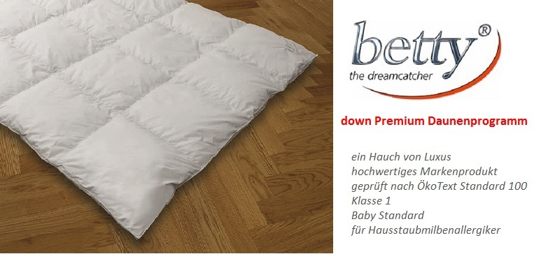 "betty down Premium Daunenkassettendecke Winterdecke ""4 x 6 Warm"" 155x220"