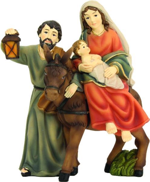 Krippenfiguren Krippenblock Heilige Familie auf der Flucht mit Esel