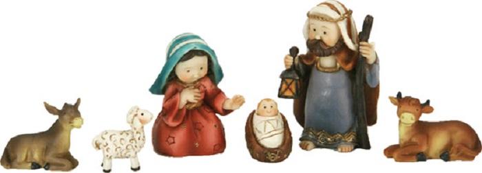 kinderkrippen kindliche figuren heilige familie mit tieren in gr e ca 8 5cm. Black Bedroom Furniture Sets. Home Design Ideas
