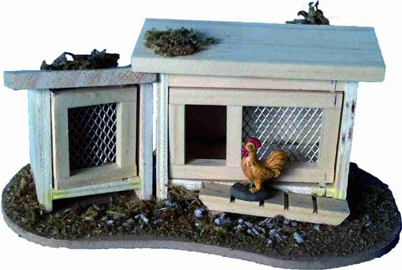 Krippenzubehör Hühnerkäfig Hühnerstall Größe ca 7x6,5cm
