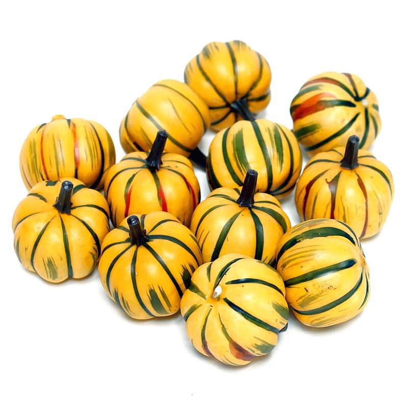 Deko Kürbisse rund, gelb/grün 4cm, 12 Stück, künstlich, Früchte !!!