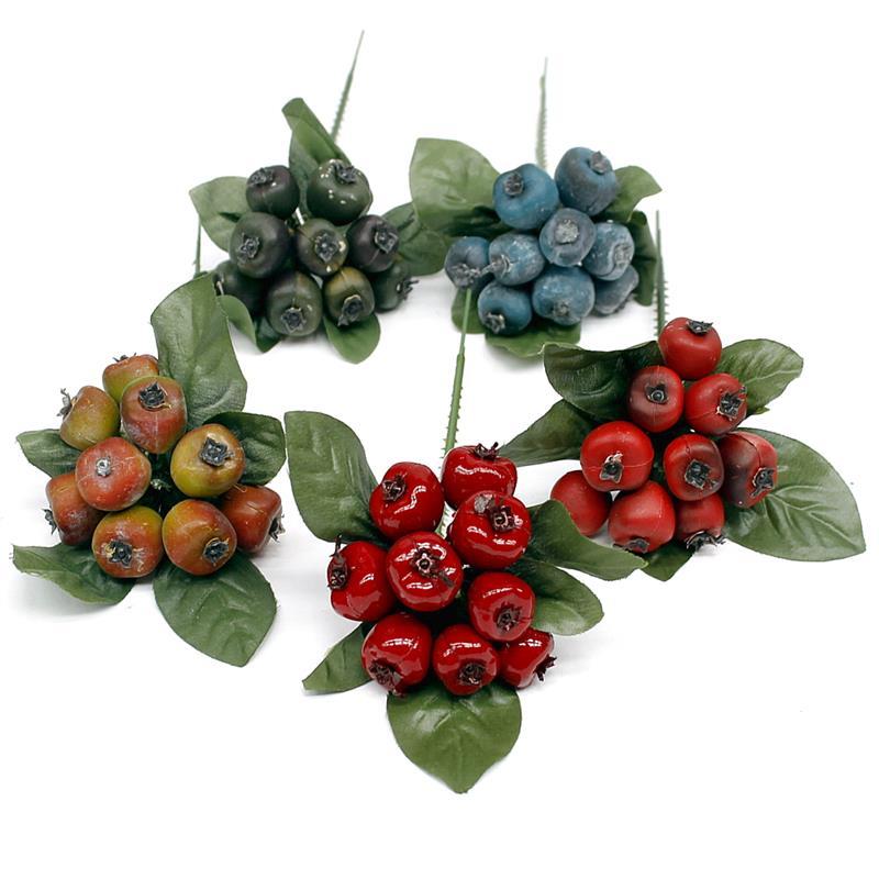12 x Beeren Pick ca. 6cm, diverse Farben, künstlich, Früchte/ TOP