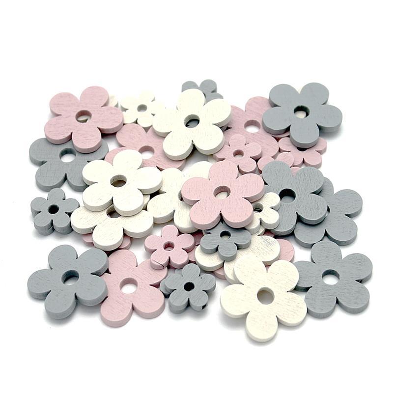 72x Streu-Blumen klein, rosa/grau/creme sortiert, Holz 1,5+2,5cm***