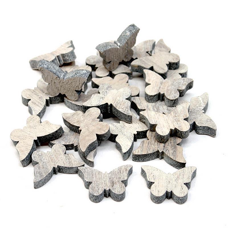 48x Streuartikel Holz, Herz/Schmetterling natur-geweißt, dick 8mm *** 48x Schmet