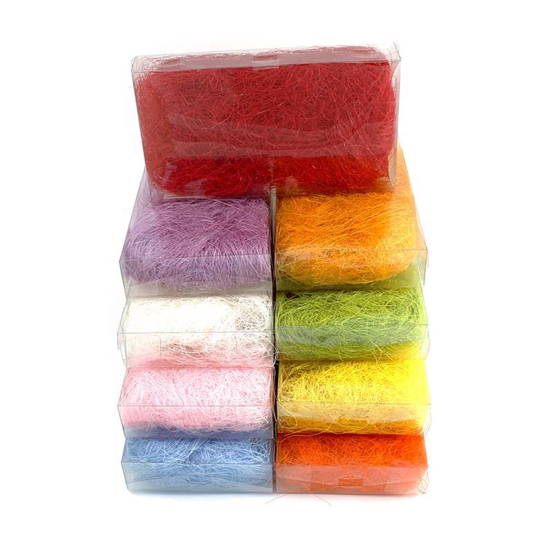 Sisalgras in Box 30gr. diverse Farben, Sisalwolle, Flachshaar ***