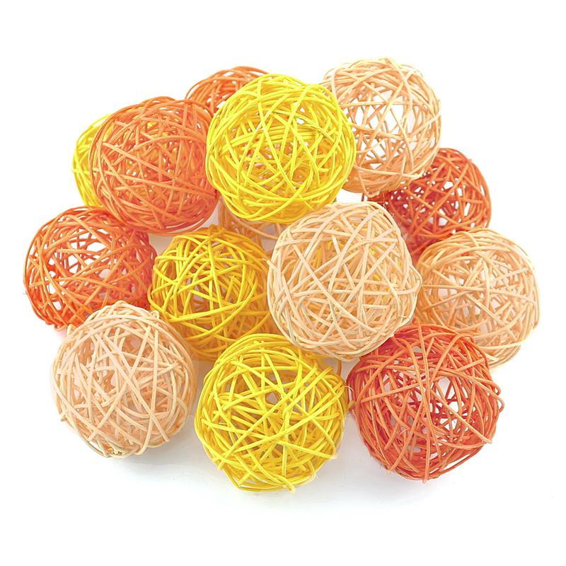 Rattankugeln orange/gelb/aprico Sortiment,  Rattan Kugeln *** 7,5cm/ 15 Stück