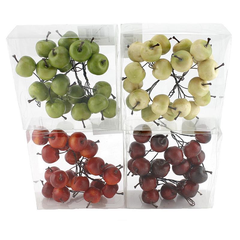 20x Deko Äpfel am Draht, klein 3cm in Box, künstlich, Früchte