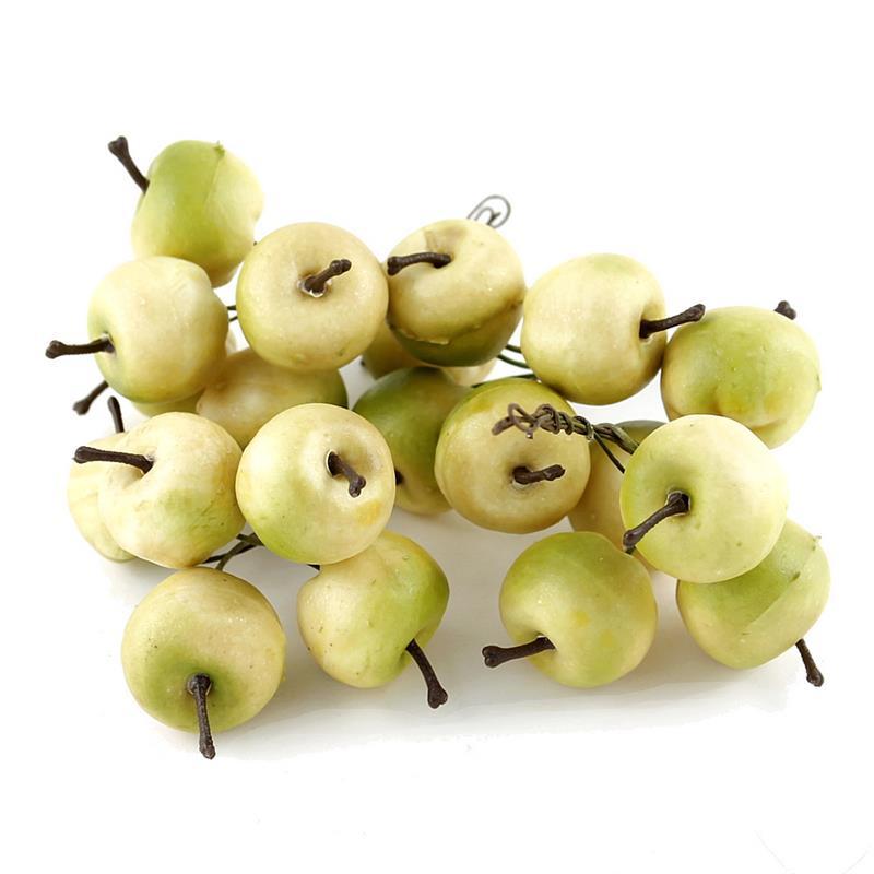 20x Deko Äpfel am Draht, klein 3cm in Box, künstlich // creme-grün