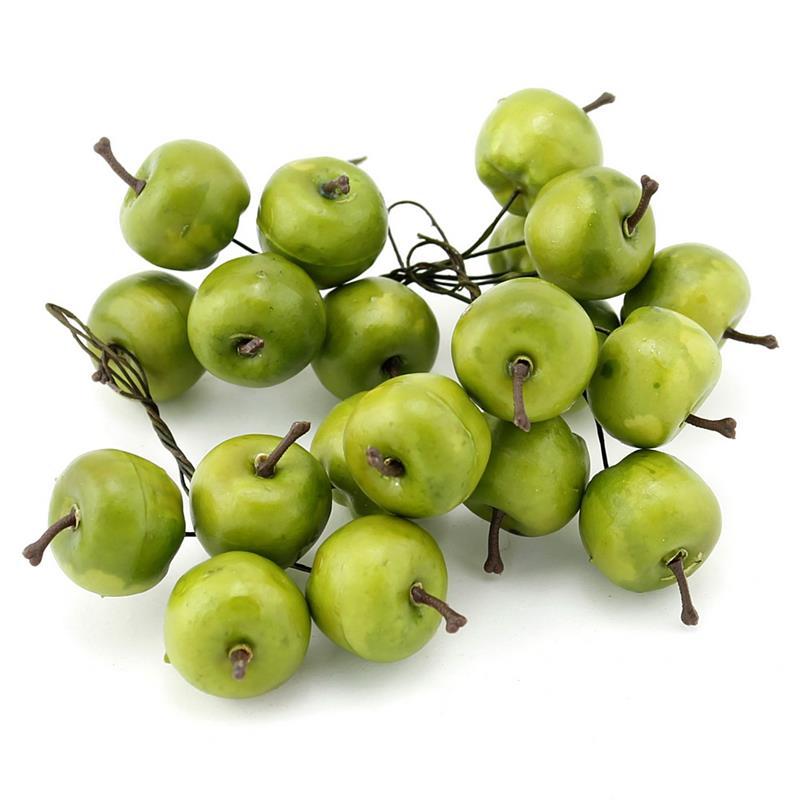 20x Deko Äpfel am Draht, klein 3cm in Box, künstlich // grün