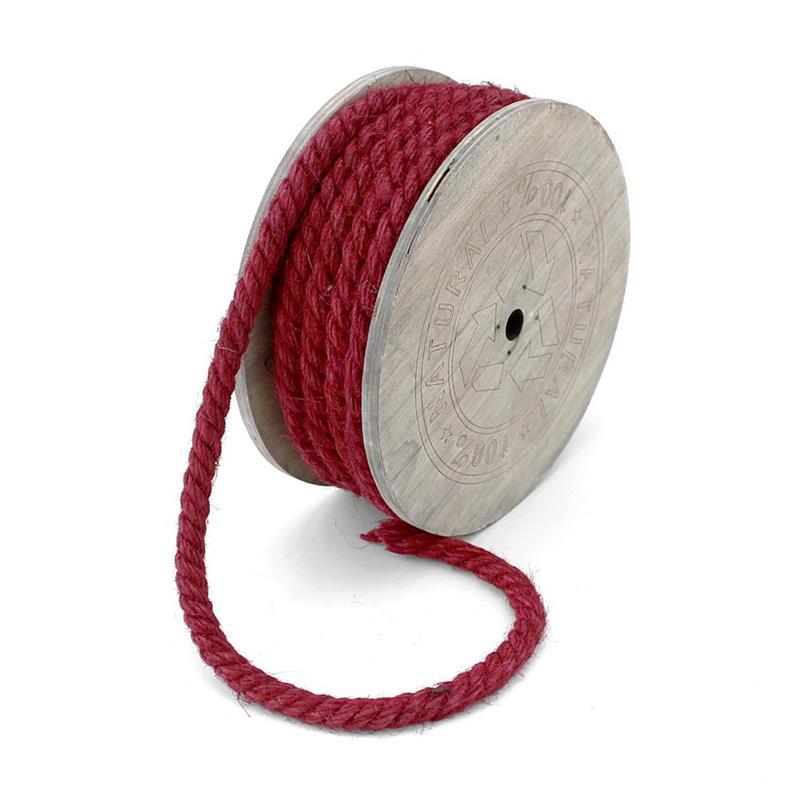 Jutekordel 8mm/ 7 Meter gefärbt, Kordel, Tau, Seil, Holzspule/ dunkel-rot