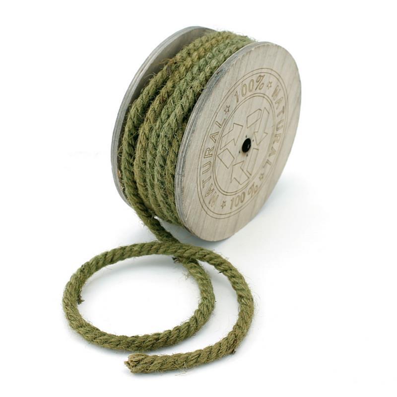 Jutekordel 8mm/ 7 Meter gefärbt, Kordel, Tau, Seil, Holzspule/ olive (grün)