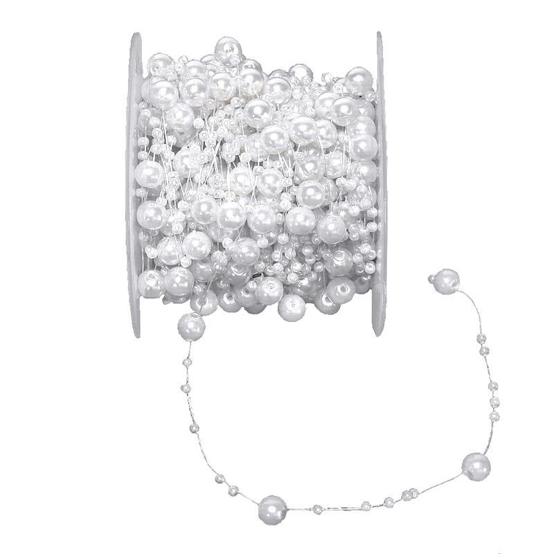 12 Meter Perlenschnur weiß, -Kette, Band, Girlande/ 8mm+3mm, Rolle